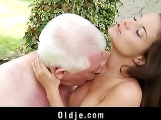 dick-horny-old and young-old man-riding-teasing